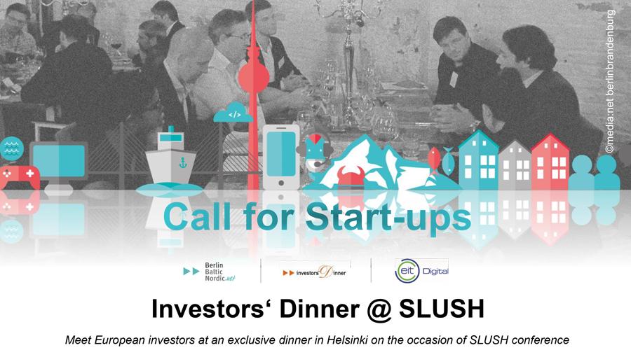 Investors Dinner Slush Call for Startups