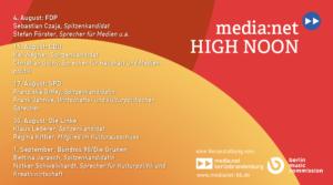 High Noon – die Polit-Reihe zur Wahl zum 19. Berliner Abgeordnetenhaus